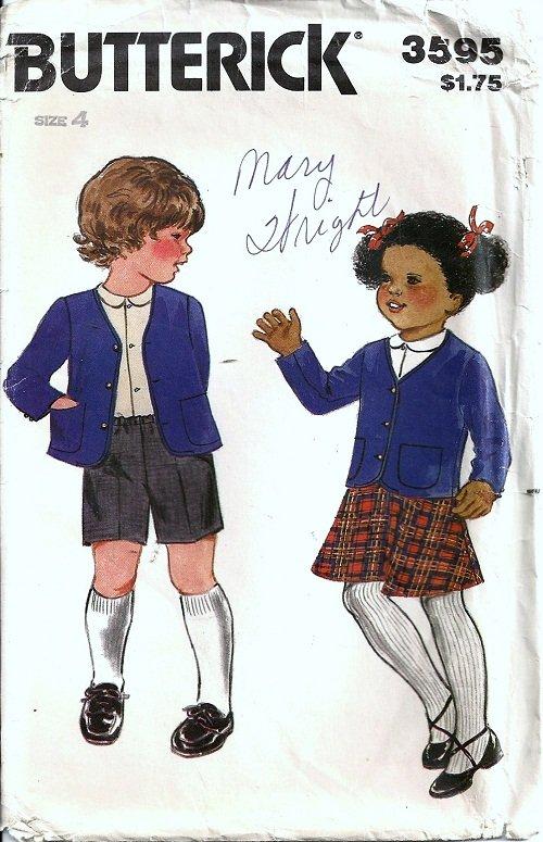 Boy Girl Jacket Skirt Shorts Vtg Sewing Pattern Butterick 3595 Size 4