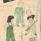 Toddler 40s Overalls, Jacket Vtg Sewing Pattern Butterick 3095 Size 3