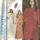 Misses 70s Dress, Top, Pants Retro Sewing Pattern McCalls 5322 Size 12