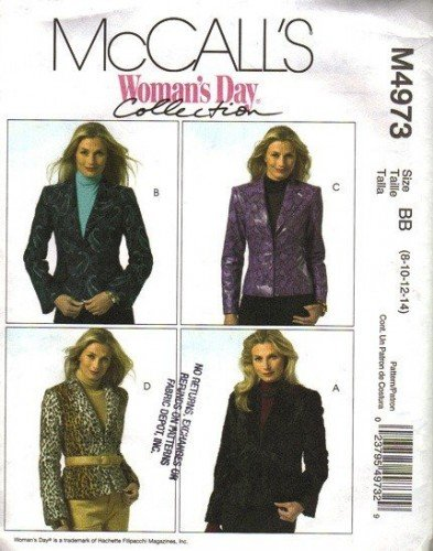McCalls 4973 Misses Jacket Womans Day Sewing Pattern Size 8, 10, 12