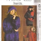 Misses Jacket, Hat Sewing Pattern McCalls 4217 Sz 4, 6, 8, 10, 12, 14