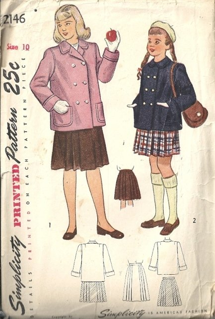 Girls 40s Jacket, Pleated Skirt Sewing Pattern Simplicity 2146 Size 10