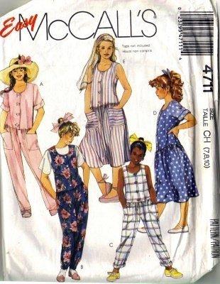 McCalls 4711 Girls 80s Jumpsuit, Dress Sewing Pattern Size 7, 8, 10
