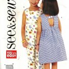 Girls Sundress, Romper Sewing Pattern Butterick 3888 Size 6, 7, 8