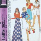 Misses 70s Long Skirt, Pantskirt Sewing Pattern McCalls 3621 Size 12