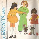 Girls Dress Jumper Top Pants Vintage Sewing Pattern McCalls 4691 Size 4