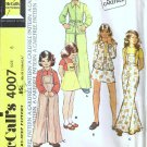 70s Girls Jacket Skirt Pants Bib Sewing Pattern McCalls 4007 Size 6