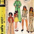 70s Girls Jacket Skirt Pants Bib Sewing Pattern McCalls 4007 Size 7