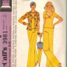 Misses 70s Shirt, Top, Pants Retro Sewing Pattern McCalls 3981 Size 10