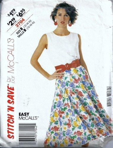 Misses Top Skirt Vintage Sewing Pattern McCalls 3704 Size 12 14 16