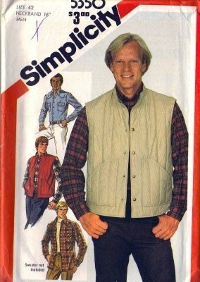 Mens 80s Shirt, Quilted Vest Sewing Pattern Simplicity 5350 Size 42