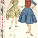 Girls 50s Dress, Vest Vintage Sewing Pattern Simplicity 4104 Size 12