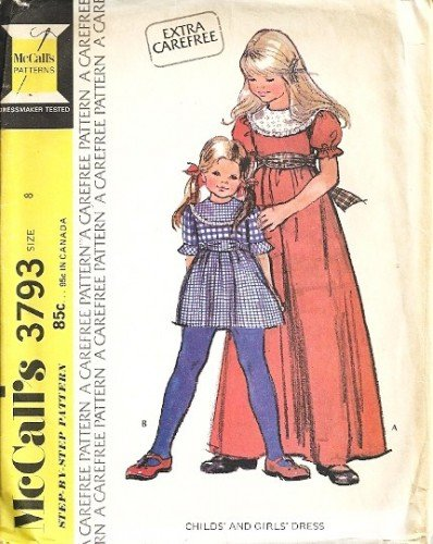 Girls 70s Long/Short Dress Retro Sewing Pattern McCalls 3793 Size 8