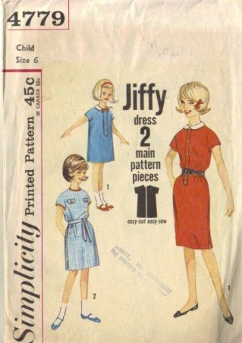 Girls 60s Shift Dress Vintage Sewing Pattern Simplicity 4779 Size 6