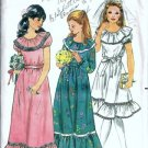 Girls Long Dress 70s Vintage Sewing Pattern Butterick 3118 Size 14