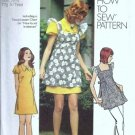 Misses Mini Dress, Smock 70s Sewing Pattern Simplicity 5465 Size 9/10