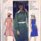 Misses 70s Dress, Hat Vintage Sewing Pattern Simplicity 5464 Size 12