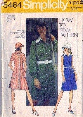 Misses 70s Dress, Hat Vintage Sewing Pattern Simplicity 5464 Size 12