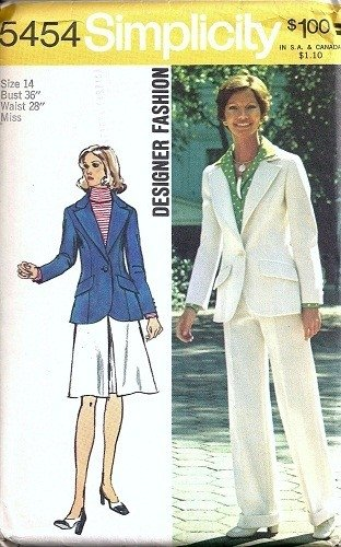 Misses Jacket, Skirt, Pants 70s Sewing Pattern Simplicity 5454 Size 14