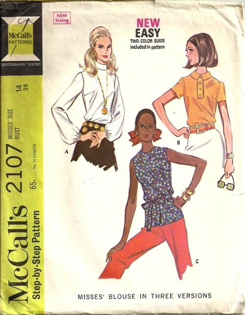Misses 60s Blouse Vintage Sewing Pattern McCall s 2107 Size 14