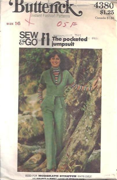 Misses 70s Jumpsuit Sewing Pattern Butterick 4380 Size 16