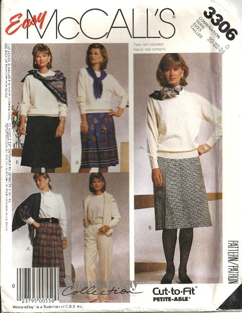 Misses 80s Skirt, Pants Sewing Pattern McCalls 3306 Size 20, 22, 24