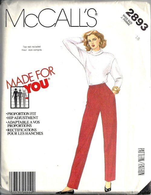 Misses Proportion Fit Pants Sewing Pattern McCalls 2893 Size 18