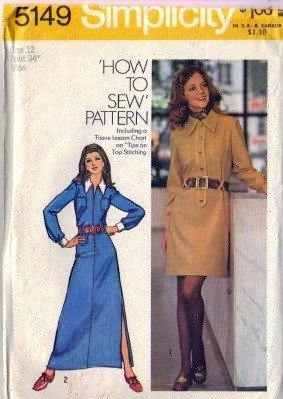 Misses 70s Shirtwaist Dress Sewing Pattern Simplicity 5149 Size 12