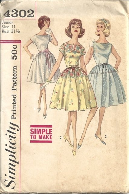 Misses Rockabilly Dress Sewing Pattern Simplicity 4302 Junior Size 11