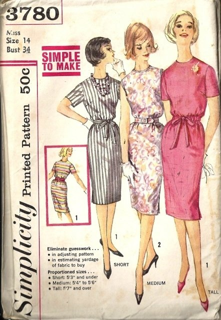 Misses Proportioned Sheath Dress Sewing Pattern Simplicity 3780 Sz 14