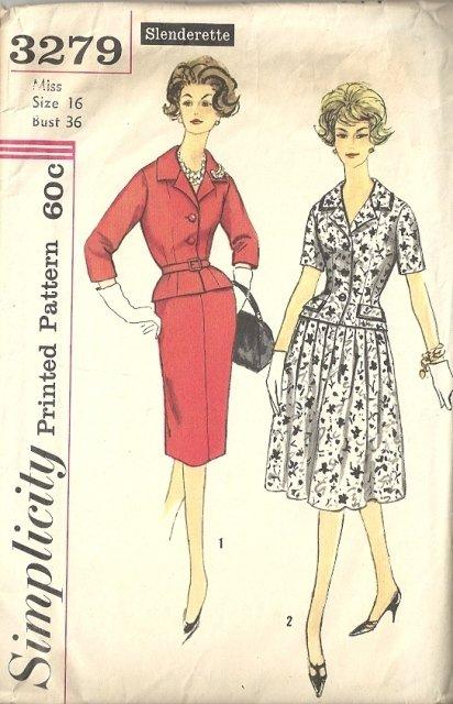 Misses Slenderette Dress 50s Sewing Pattern Simplicity 3279 Size 16