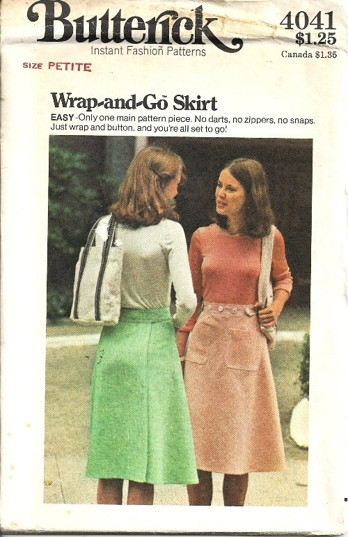 Misses 70s Back Wrap Skirt Sewing Pattern Butterick 4041 Size Petite