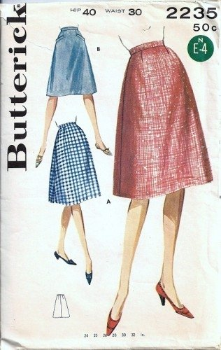 Misses Flared Skirt 60s Sewing Pattern Butterick 2235 Waist 30