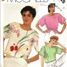 Misses Pullover Tops Sewing Pattern McCalls 2045 Size 12, 14, 16