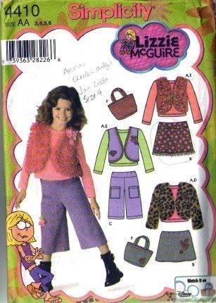 Girls Skirt, Pants, Vest, Bag Sewing Pattern Simplicity 4410 Size 3, 4