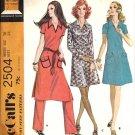 Misses 70s Dress, Pants Vintage Sewing Pattern McCalls 2504 Size 16