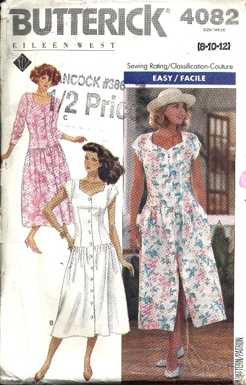 Misses 80s Dress Sewing Pattern Butterick 4082 Size 8, 10, 12