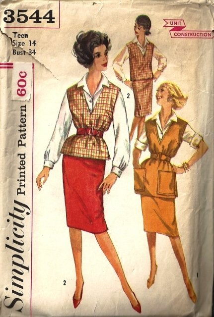 Misses 60s Skirt, Blouse, Top Sewing Pattern Simplicity 3544 Size 14