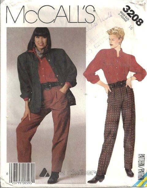 Misses Jacket, Shirt, Pants Sewing Pattern McCalls 3208 Size 16