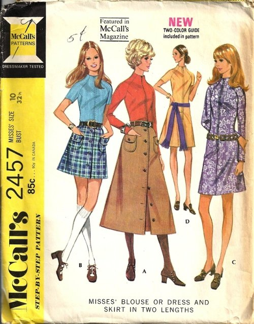 Misses 70s Blouse, Dress, Skirt Sewing Pattern McCalls 2457 Size 10