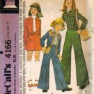 Girls 70s Jacket Skirt Pants McCalls 4166 Vtg Sewing Pattern Size 7