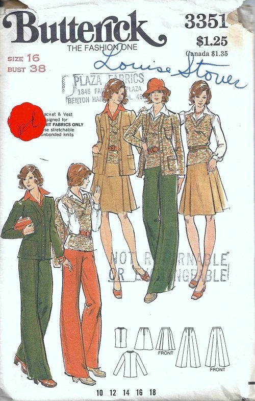 Misses Jacket, Skirt, Pants Sewing Pattern Butterick 3351 Size 16