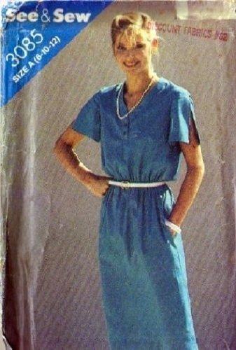 Misses V Neck Dress Sewing Pattern Butterick 3085 Size 8, 10, 12