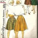 Teen Girl 50s Kilt, Skirt Vintage Sewing Pattern Simplicity 4109 Sz 14