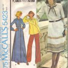 Misses 70s Dress, Top Vintage Sewing Pattern McCalls 5423 Size 12