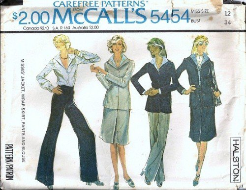 McCalls 5454 Misses Halston Jacket, Skirt, Pants Sewing Pattern Sz 12