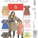 McCalls 5458 Girls Top, Dress Sewing Pattern Size 3, 4, 5, 6 Uncut