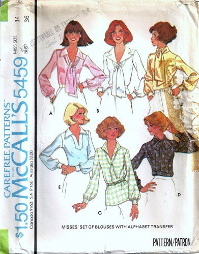 McCalls 5459 Misses 70s Blouse, Scarf Vintage Sewing Pattern Size 14
