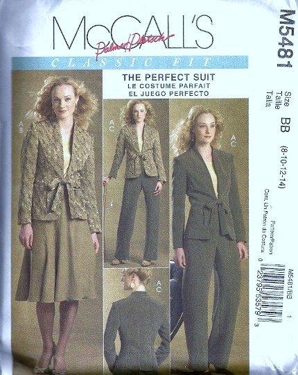McCalls 5481 Misses Jacket, Skirt, Pants Sewing Pattern Size 8, 10, 12, 14