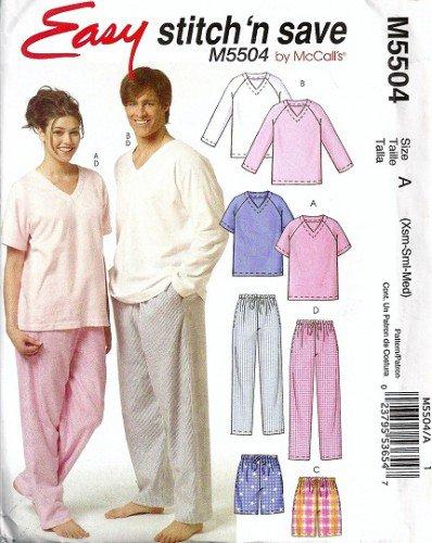 Men, Misses Pajamas, Shorts Sewing Pattern McCalls 5504 Size XS, S, M